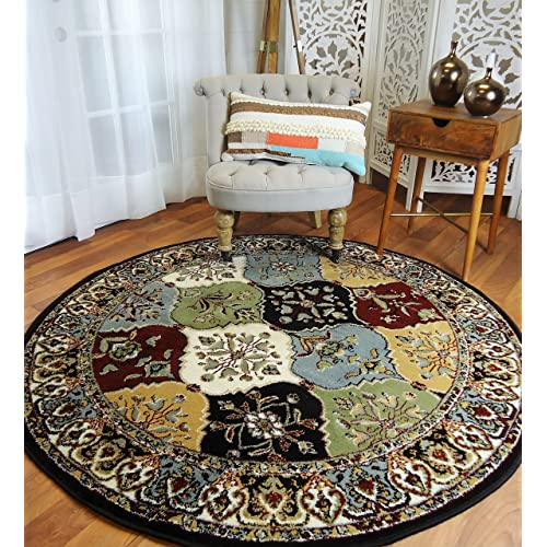 Round Rugs 6ft Multi-Color Rug Circle Rugs for Living Room and Dining Room Rugs Clearance 5x5 ft
