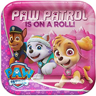 Paw Patrol Girl Square Plate, 9in, 8pcs