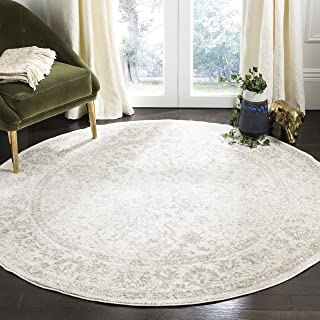 Safavieh Adirondack Collection ADR109C Ivory and Silver Oriental Vintage Distressed Round Area Rug (10' Diameter)