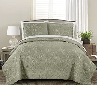 Blissful Living Luxury Embroidered Quilt Set Including Shams - Cotton Fill - Lightweight and Soft for All Seasons, Available in Twin, Full/Queen and King Size (Gallen, Twin)