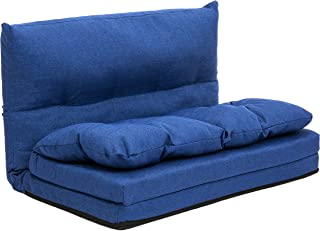 Best Choice Products Linen Folding Futon Chaise Lounge Sofa Gaming Chair Floor Couch - Blue