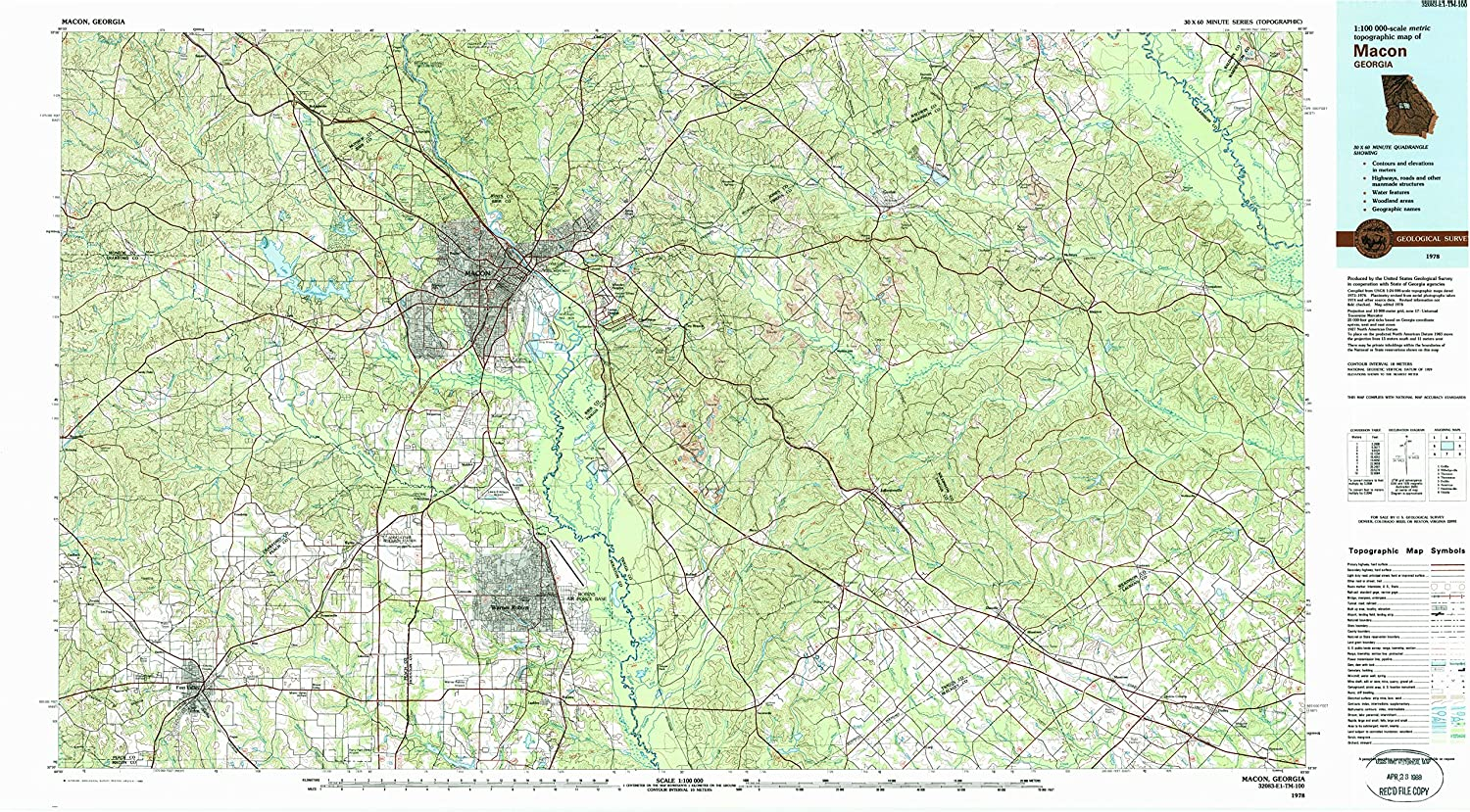 Macon GA topo map, 1 100000 Scale, 30 X 60 Minute, Historical, 1978, Updated 1988, 24.1 x 43.9 in