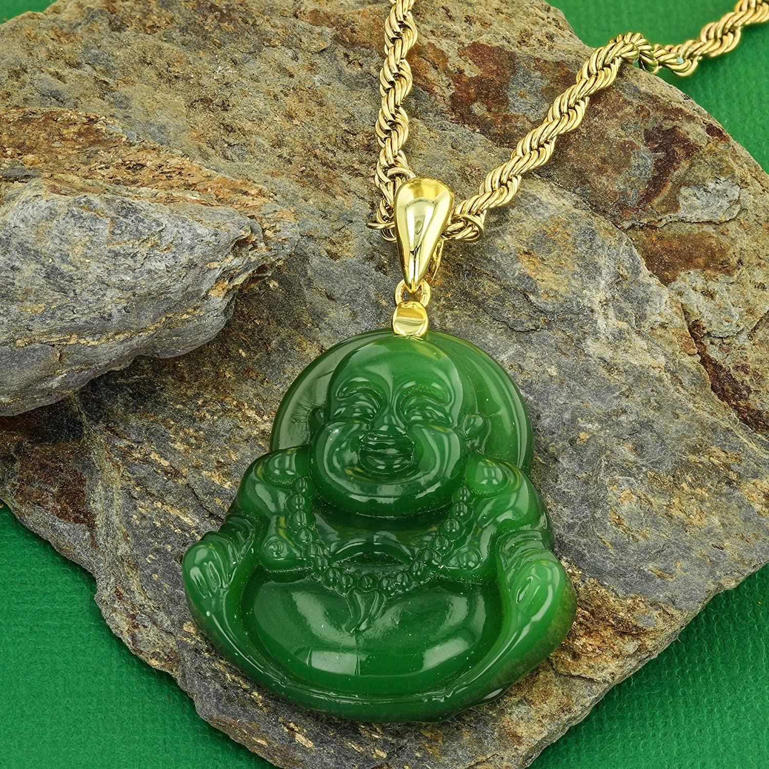 Shop-iGold Laughing Buddha Green Jade Pendant Necklace Rope Chain Genuine Certified Grade A Jadeite Jade Hand Crafted, Jade Necklace, 14k Gold Filled Laughing Jade Buddha Medallion