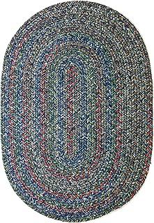 RRI Home Decor Sonya Indoor/Outdoor Oval Reversible Braided Rug, 2 by 3-Feet, Denim Multicolor