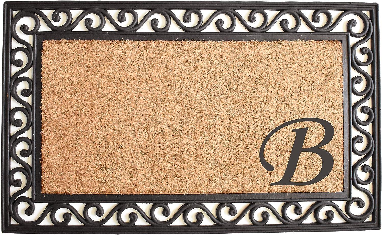 Home & More 104021830B Versailles Monogram Doormat 18  x 30 , Natural Black, (Letter B)