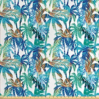Ambesonne Palm Leaf Fabric by The Yard, Tropical Summer Print with Palm Abstract Nature Pattern Fantasy Dream, Decorative Fabric for Upholstery and Home Accents, 3 Yards, Mint Green