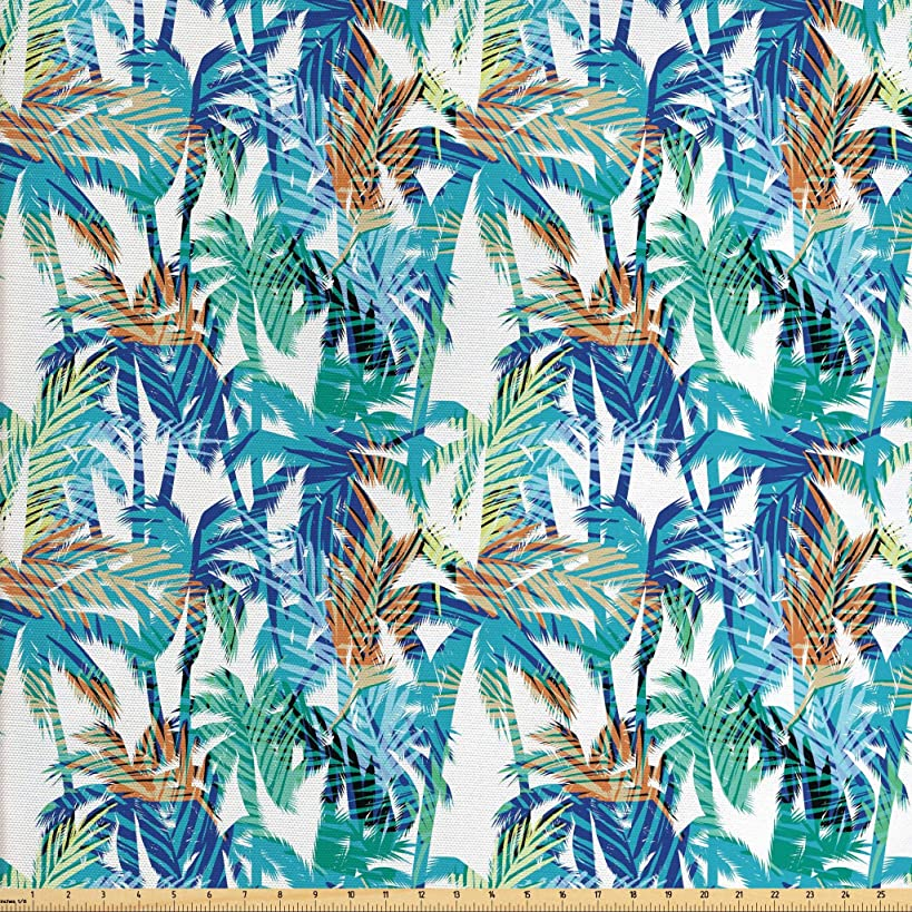 Ambesonne Palm Leaf Fabric The Yard, Tropical Summer Print Palm Abstract Nature Pattern Fantasy Dream, Decorative Fabric Upholstery Home Accents, 1 Yard, Blue Mint Green Orange