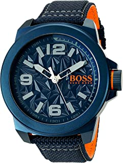 BOSS Orange Men's 'NEW YORK' Quartz Resin and Canvas Casual Watch, Color:Blue (Model: 1513353)