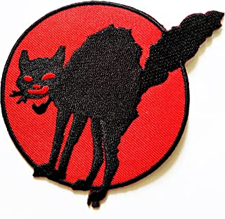 HHO Black Cat Halloween Patch Embroidered DIY Patches, Cute Applique Sew Iron on Kids Craft Patch for Bags Jackets Jeans Clothes