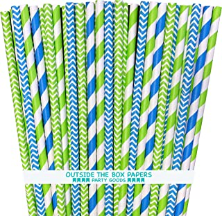 Outside the Box Papers Lime Green and Blue Chevron and Stripe Paper Straws 7.75 Inches 100 Pack Lime Green, Blue