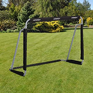 Relaxdays Pojkar fotboll, Pro fotbollsmål för vuxna och barn, med nät, för trädgård, HWD 110 x 150 x 75 cm, grå/svart, 110...