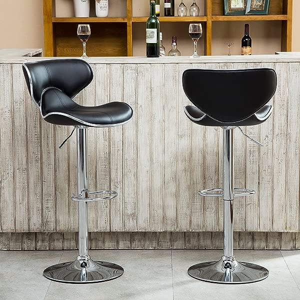 Roundhill Furniture Masaccio 软垫人造革室内装潢 Airlift 可调节旋转酒吧凳,带镀铬底座 2 套黑色