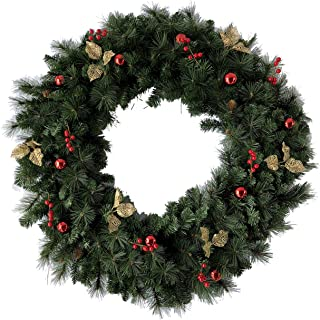 最高級クリスマスリース 大型 直径120cm オーナメント 松ぼっくり リボン付  玄関リース ホテル 旅館 店舗 クリスマスデコレーション ドア飾り ドイツ、ベルギー輸出専用HIO-120-U