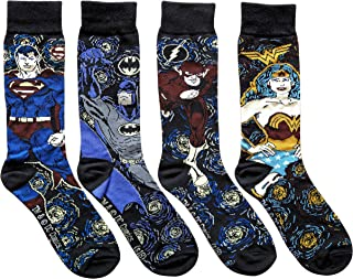 Superman Batman Flash Wonder Woman Starry Night Men's Crew Socks 4 Pair Pack