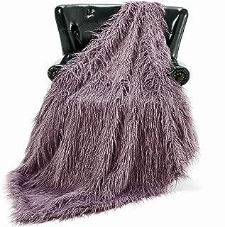 HT&PJ Luxury Faux Fur Throw Blanket Plush Long Shaggy Super Soft Throw Mongolian Fluffy Fur Style Blanket for Living Room (779A Violet Purple 50
