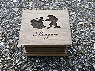 Custom engraved wooden music box with Beauty and the Beast image and your choice of name engraved on the top with your choice of color and song, Tale as old as time