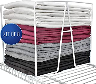 TitanSecure White Wire Shelf Dividers for Closets - Best Closet Organizer That Takes Seconds to Install. Organize Your Bedroom, Bathroom and Much More - Works on Most 12 Inch Wire Shelves (Set of 8)
