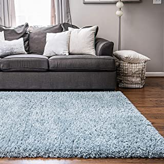 Infinity Collection Solid Shag Area Rug by Rugs.com – Slate 5' x 8' High-Pile Plush Shag Rug Perfect for Living Rooms, Bedrooms, Dining Rooms and More