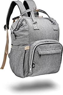 Large Grey Diaper Bag Backpack for mom Baby Caboodle Travel Back Pack, Supplies Bag For Twins, MultiFunction, Unisex (for Mom, Dad, or Nanny) Stylish Gray & Durable Design, Maternity Nappy Bags
