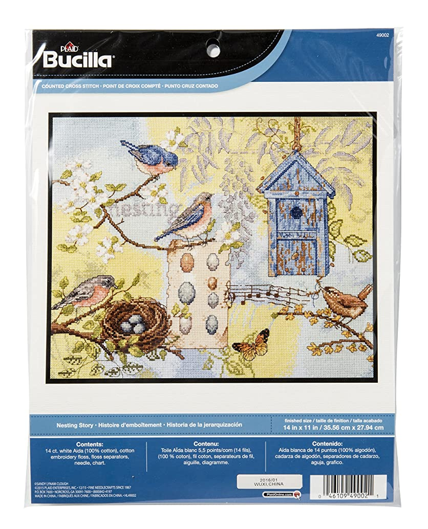 Bucilla Counted Cross Stitch Kit, 14 by 11-Inch, 49002 Nesting Story