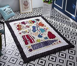 Baby Kids Play Mat Cotton Crawling Cushion, Kids Room Rug Floor Gym, Non-Toxic Non-Slip Washable Reversible Room Decor Floor Rug, Activity Floor Carpet (Bus)