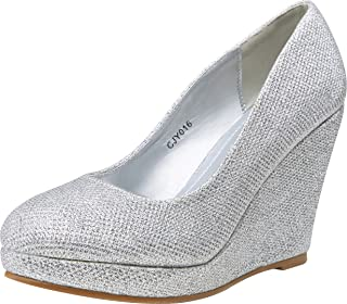 Women's Round Closed Toe Pumps High Heels Slip-on Wedges Shoes
