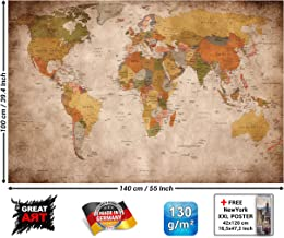 GREAT ART XXL Poster World map photo wallpaper vintage retro motif - XXL world map mural - wall art decoration 55 Inch x 39.4 Inch