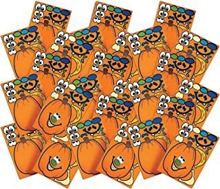 4E's Novelty 72 Pack Halloween Jack o Lateran Make A Pumpkin Stickers, Bulk Decorating Sticker Sheets, Great Party Favors and Goodie Bag Fillers for Kids Boys Girls