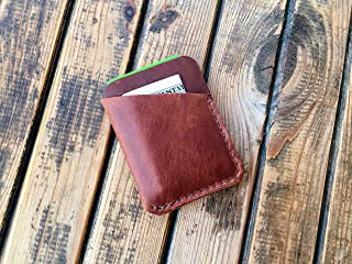 Leather Card Holder Wallet for Mens - Ultra Slim Business Card Case from Distressed Genuine Leather - Handmade Minimalist Design Carry Front Pocket