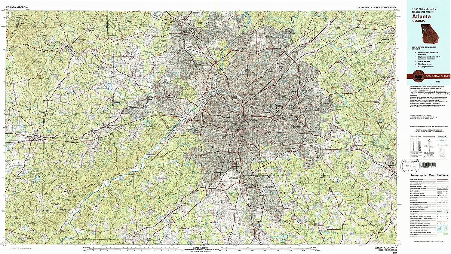 Historical 24.1 x 40 in YellowMaps Frederick MD topo map Updated 1985 1:100000 Scale 1984 30 X 60 Minute