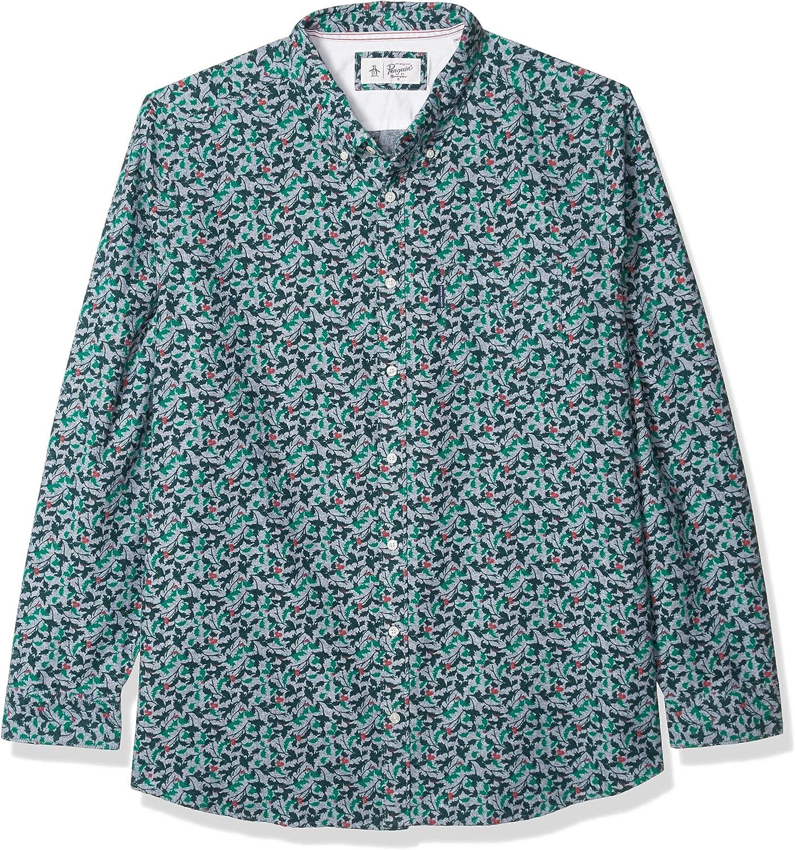 Original Penguin Men's Big and Tall Long Sleeve Printed Button Down Shirt