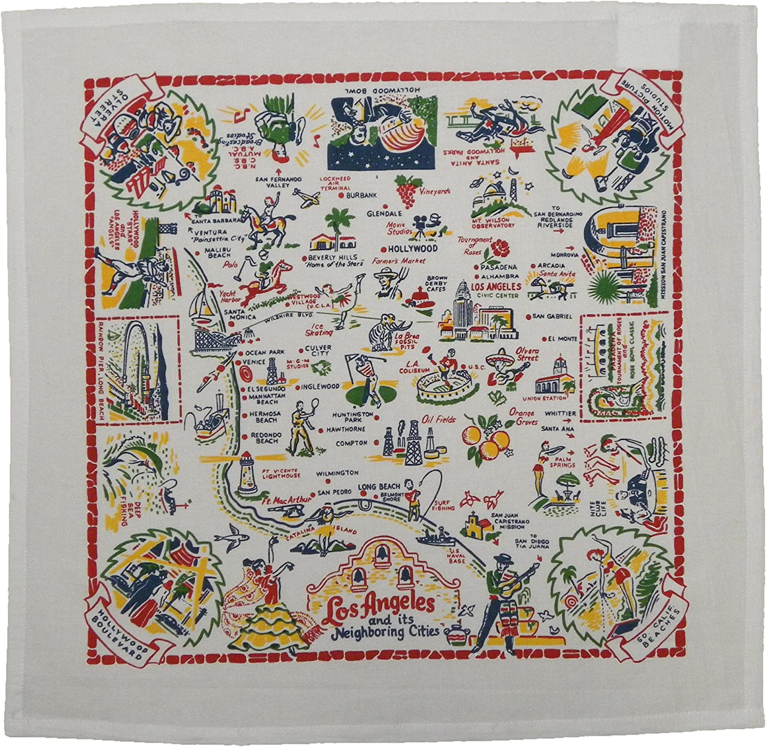 Red White Max 55% OFF Los Popular product Angeles Sack Flour Dish Towel