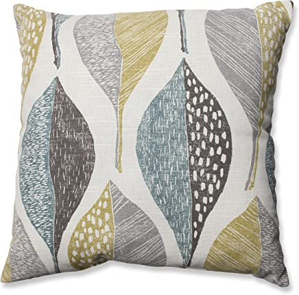 Pillow Perfect Woodblock Leaf Rain Throw Pillow,  16.5-Inch