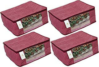Homestrap Cotton Quilted Large Saree Cover Bag / Wardrobe Organiser - Maroon - Pack Of 4