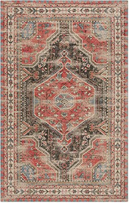 Safavieh Classic Vintage Collection CLV308Q Oriental Distressed Area Rug, 8' x 10', Red / Charcoal
