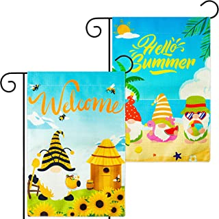 WATINC 2Pcs Summer Gnomes Garden Flags Hello Summer Beach Gnome Welcome Bee Sunflower Gnome Vertical Double Sided Burlap Y...