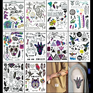 Oottati Realistic Fake Tribal Body Temporary Tattoos Kit - 10 Sheets 200+ Designs - Supplies Temporary Rose Eye Tattoos for Dream Party for Kids Adult