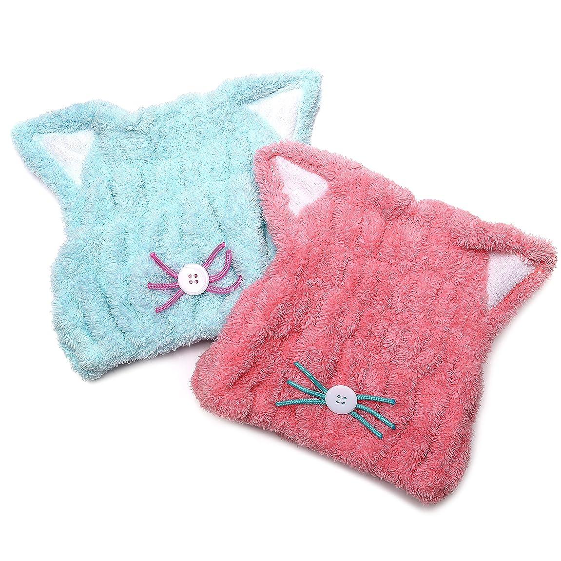 守るお尻枯渇するCota's home 子供用 吸水 タオルキャップ マイクロファイバー素材 ふわふわ タオル 帽子 子供 ねこ ショートヘアー用 お風呂上りやスイミングの後に楽しく乾かす 1年保証付き (ブルー&ピンク)