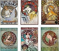 Artdash Brand Premium Art Nouveau Reproductions ~ Set of 6 Easy-to-Frame 8