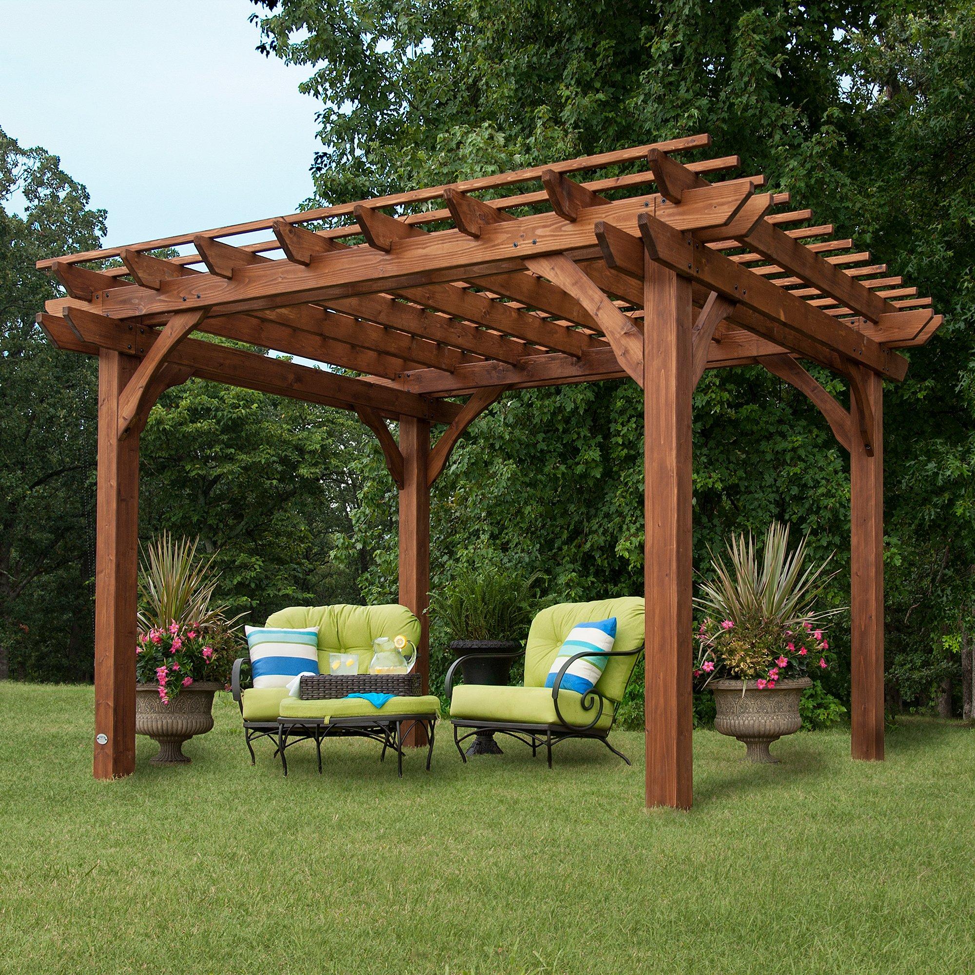 Backyard descubrimiento Cedar Pergola 12 x 10 montaje incluido: Amazon.es: Jardín