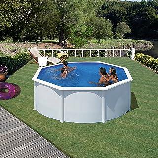 Gre KIT300ECO Fidji - Piscina Elevada Redonda, Aspecto Acero Blanco, 300 x 120 cm
