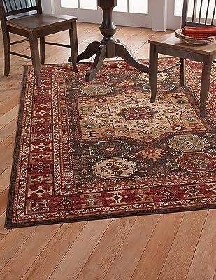 Abacasa Sonoma Curran Area Rug, 5-Feet 3-Inch by 7-Feet 6-Inch, Chocolate/Red/Ivory