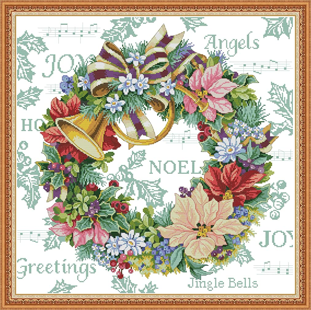 Stamped Cross Stitch Kits Pre-Printed Pattern, Cross Stitch Holiday Wreath Needlepoint Cross-Stitch Patterns for Beginners Adults, Embroidery Starter Kits for Living Room Home Wall Decorations