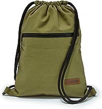 By Bers LEON Turnbeutel, große Reißverschluss Außentasche, mit Innentaschen Rucksack Tasche Damen Herren & Teenager Gym Bag Draw String Gruen_Zipper