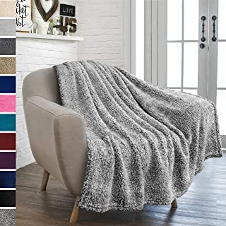 PAVILIA Plush Sherpa Throw Blanket for Couch Sofa | Fluffy Microfiber Fleece Throw | Soft, Fuzzy, Cozy, Lightweight | Solid Heather Grey Blanket | 50 x 60 Inches