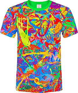 aofmoka Ultraviolet Fluorescent Handmade Art Neon Blacklight Reactive Print T-Shirt