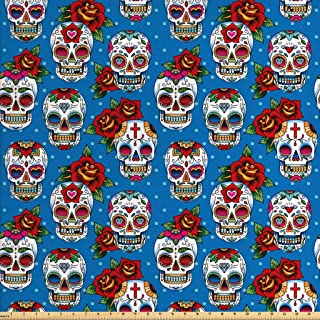 Ambesonne Sugar Skull Fabric by The Yard, Retro Style Mexican Cultural Pattern on Polka Dots Rose Bouquets Skeletons, Decorative Fabric for Upholstery and Home Accents, 1 Yard, Sea Blue