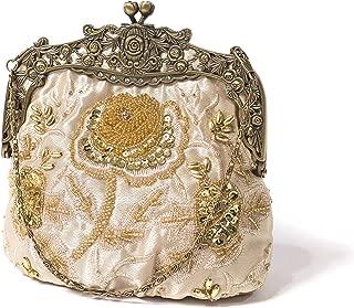 Women's Antique Beaded Party Clutch Vintage Rose Purse Evening Handbag