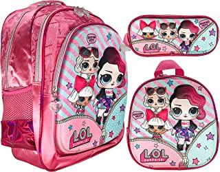 3d LOL Surprise School Backpack For Kids Girl 18 Inch Pink Include Lunch Bag And Pencil Pouch