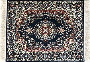 square Dollhouse miniature carpet black with rosette